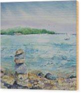 Cairns On The Beach Wood Print