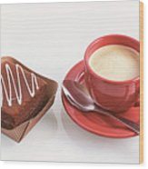 Cake And Cup Of Coffee Wood Print