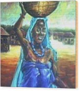 Calabash Lady In Blue Wood Print