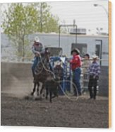Calf Roping Wood Print