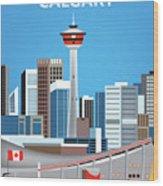 Calgary Alberta Canada Vertical Skyline Wood Print