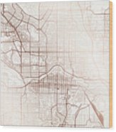 Calgary Street Map Colorful Copper Modern Minimalist Wood Print