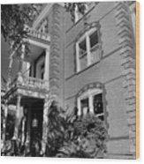Calhoun Mansion Black And White Wood Print
