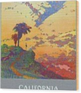 California - America's Vacation Land And New York Central Lines - Retro Travel Poster - Vintage Wood Print
