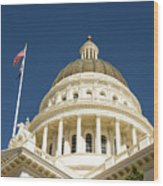 California Capitol Cupola And Flag Wood Print
