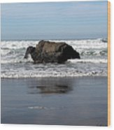 California Coast Ocean Waves 2 Wood Print