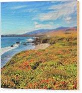 California Coast Wildflowers On Cliffs Ap Wood Print