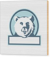 California Grizzly Bear Head Smiling Circle Retro Wood Print