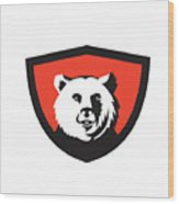 California Grizzly Bear Head Smiling Crest Retro Wood Print