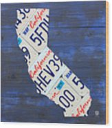 California License Plate Map On Blue Wood Print by Design Turnpike