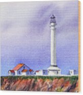California Lighthouse Point Arena Wood Print