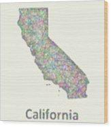 California Line Art Map Wood Print