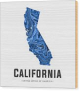 California Map Art Abstract In Blue Wood Print