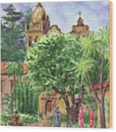California Mission Carmel Basilica Wood Print