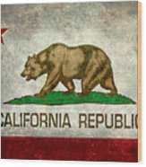 California Republic State Flag Retro Style Wood Print