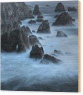 California Rocky Coastline Wood Print