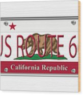California Route 66 License Plate Wood Print