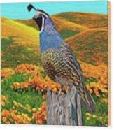 California State Bird and Flower Wood Print