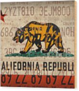 California State Flag Recycled Vintage License Plate Art Wood Print