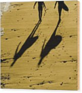California Surfers On The Beach Wood Print