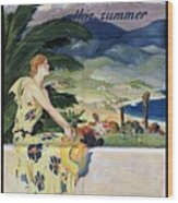 California This Summer - Travel By Train - Vintage Poster Folded Wood Print