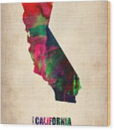 California Watercolor Map Wood Print