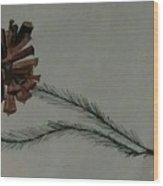 Caligarphy Pine Cone Wood Print