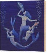 Call Of The Mermaids Wood Print