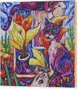 Calla Cacti Cat Izona Wood Print