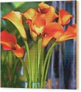 Calla Lilies Bouquet Wood Print