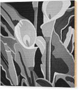 Calla Lilies Bw Wood Print