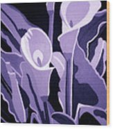 Calla Lillies Lavender Wood Print