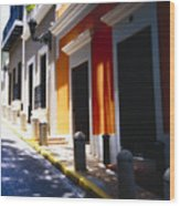 Calle Del Sol Old San Juan Puerto Rico Wood Print by George Oze