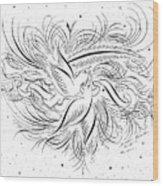 Calligraphic Love Birds Wood Print