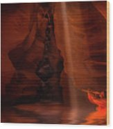 Calling The Light Beam- Upper Antelope Canyon Wood Print