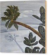 Calm Beach Palm Wood Print