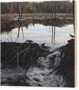 Calm Photo Of Water Flowing Wood Print