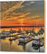 Calm Waters Bull River Marina Tybee Island Savannah Georgia Art Wood Print
