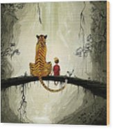 Calvin And Hobbes Wood Print
