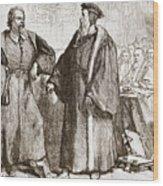 Calvin And Servetus Before The Council Of Geneva Wood Print