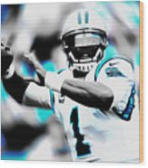 Cam Newton Letting It Fly Wood Print