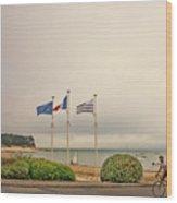Camaret Sur Mer, Brittany, France, Bicyclist Wood Print