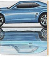 Camaro 2010 Reflects Old Blue Wood Print
