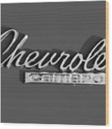 Camaro Logo In Black And White Wood Print