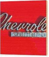Camaro Logo On Cherry Red Car Wood Print