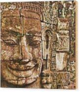 Cambodia Faces  Wood Print