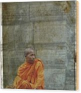 Cambodian Monk At Angkor Wat Wood Print