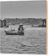Cambodian Woman In A Boat Wood Print