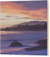 Cambria Coastline With Purple Sunset Colors Wood Print