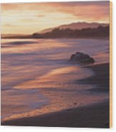 Cambria Coastline With Shimmering Sunset Color Wood Print